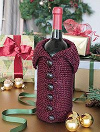 Buttoned-up Bottle Cozy Digital Knitting Pattern - A great gift featured in the Holiday 2013 Issue of Love of Knitting magazine