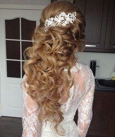Long Curly Half Updo
