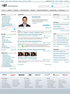 BT Finance Group Intranet homepage
