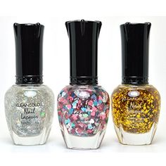 3 KLEANCOLOR NAIL GLITTER POLISH SILVER STAR HEART LOVE GOLD LACQUER  FREE EARRING * Find out more about the great product at the image link.Note:It is affiliate link to Amazon.