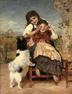 """Guess Again"" by Sophie Gengembre Anderson (pre-raphaelite painter)"