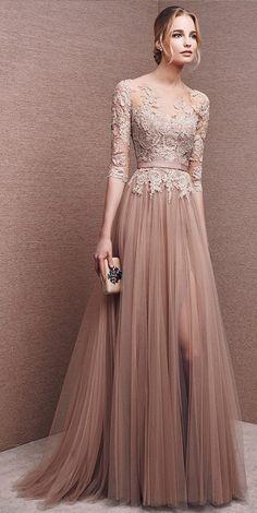 Elegant Champagne Lace Tulle Side Slit Long Prom Dresses with Sash