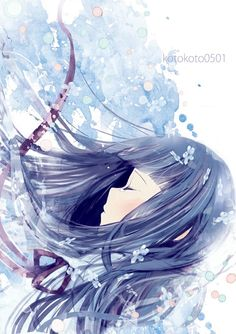 (๑・㉨・๑) ✮ ANIME ART ✮ Anime Girl with Blue Hair falling with Light Blue Background