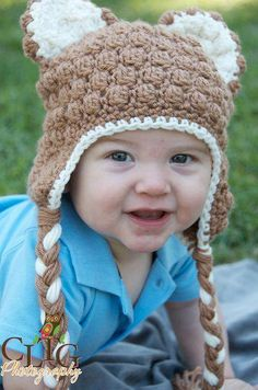 Crochet Teddy Bear Hat with Earflaps by Adorably Hooked