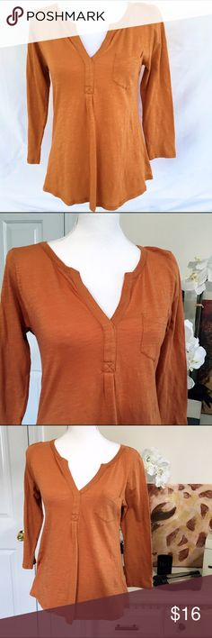Lucky Brand Long Tee with V neckline Small Beautiful layering tee with the soft fabric you can expect from Lucky Brand. 100% Cotton. Good condition pre-owned shirt. Lucky Brand Tops Tees - Long Sleeve