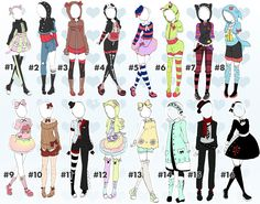 Cute outfit batch 2 by toki-doki-adoptables. Fashion Design Drawings, Fashion Sketches, Art Sketches, Anime Outfits, Girl Outfits, Cute Outfits, Arte Copic, Clothing Sketches, Drawing Base