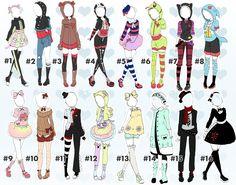 Cute outfit batch 2 OPEN(1/16) by Toki-Doki-Adoptables.deviantart.com on @DeviantArt