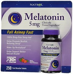 Natrol Melatonin 5mg ,Natural Strawberry Flavor and Sweeteners, 250 Fast Dissolve Tablets