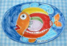 "Ovale Schaal ""Tapas"" 25 x 17 cm  ""Pesce""  Webshop Sicilian Ceramica  www.russoenzo.nl"