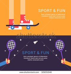 stock-vector-sport-and-fun-skateboard-and-badminton-vector-illustration-in-flat-design-style-for-web-banners-329251046.jpg (450×470)