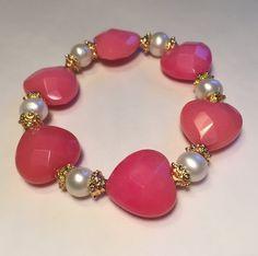 Armband aus Jade-Herzen und Perlen  Metall vergoldet von CocoIsGlam