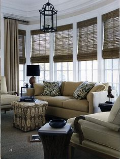 Woven Wood Shades - Beach House Blinds - Mediterranean Window Treatments by Distinctive Window Designs Decor, House Design, Wood Shades, Interior, Mediterranean Window Treatments, Living Room Windows, Home Decor, Interior Design, Home And Living