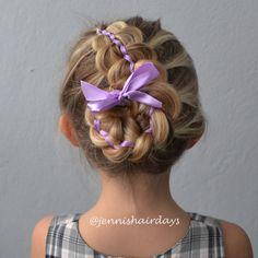 A five strand ribbon bun by Jenni's Hairdays 5-osainen nauhanuttura. #updo #ribbon #braid #hairstyle #letti #kampaus