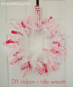 Ten June: DIY Ribbon + Tulle Baby Girl Wreath #babyshower #nursery #decor #easy #tutorial