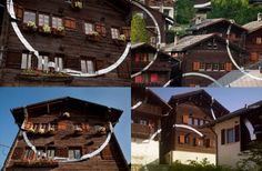 """Last summer, Felice Varini did this installation called """"Cercle et suite d'éclats"""" in Vercorin, Switzerland. The Illusionist, Environmental Graphic Design, Street Furniture, Optical Illusions, Installation Art, The Incredibles, Cabin, Mansions, Landscape"""