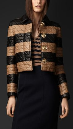 Geometric Stitch Plongé Leather Jacket in mid camel by Burberry