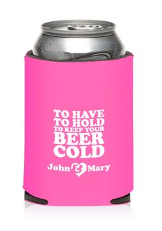 Your guests will surely love these wedding koozies! Aside from being functional, they can also be customized with a cute and funny message!  #weddingfavors #weddingkoozies #weddings