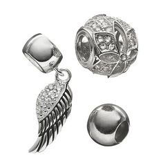 Individuality Beads Cubic Zirconia & Crystal Sterling Silver Bead & Wing Charm Set