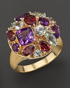 White Sapphire, Amethyst, Aquamarine, Garnet and 14K Yellow Gold Ring. Love the chunky look!