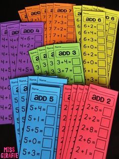 Fact Fluency in First Grade - SO MANY IDEAS!! Great blog post from Miss Giraffe.  These would be easy to do with materials you already have at school.