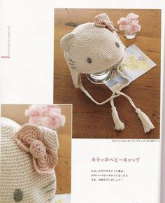 Una locura de ideas: Gorrito de ganchillo con orejitas y lacito de Hello Kitty.