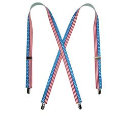American flag 1 inch wide elastic suspender. X-back style  Silver metal clip-ends and adjusters. Stitch back. Show your patriotism with these great American flag suspenders.$11.95