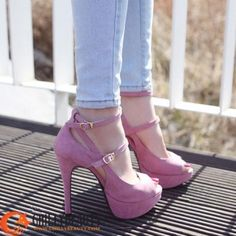Women Peeptoe Platform Double-buckles Strappy High Heels Shoes - Heels - SHOES $44.99
