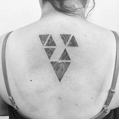 Triangles + Fingerprint Tattoo