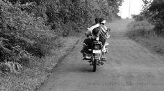 Family on a bike in Goa, India