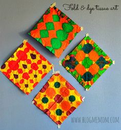 colorful tissue paper art project ~ what a fun, simple and beautiful project. Could frame for Mother's Day.
