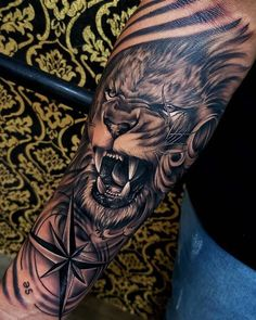 Tattoos From Around The World – Voyage Afield Lion Forearm Tattoos, Lion Head Tattoos, Forarm Tattoos, Leo Tattoos, Leg Tattoo Men, Animal Tattoos, Arm Band Tattoo, Body Art Tattoos, Hand Tattoos