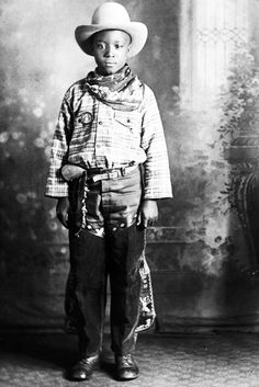 +~+~ Antique Photograph ~+~+ African American Boy dressed up in his Cowboy best.