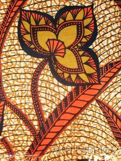 Tissu africain orange    African Fabric