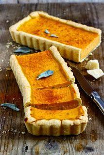 pumpkin tart with parmesan and sage Pumpkin Tarts, Savory Pastry, Superfood, Fall Recipes, Appetizer Recipes, Food Photography, Sweet Treats, Ricotta, Food And Drink