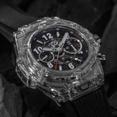 The new Hublot Big Bang UNICO Magic Sapphire watch with images, price, background, specs, & our expert analysis. Dream Watches, Luxury Watches, Panerai Watches, Men's Watches, Gentleman Watch, Tourbillon, Big Bang, Hand Watch, Bracelet Watch