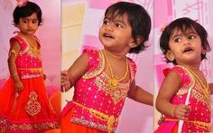 Indian Dresses: Cute Kid in Birthday Lehenga