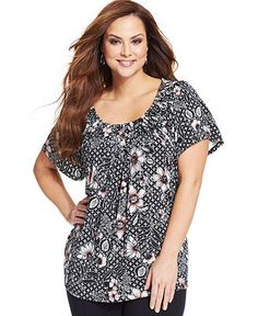 Style&co. Plus Size Short-Sleeve Printed Pleated Top - Plus Size Tops - Plus Sizes - Macy's