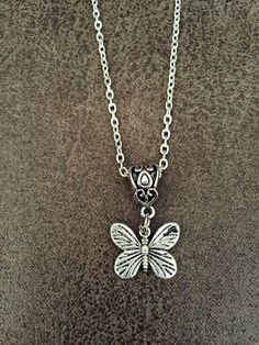 FREE SHIPPING Oxidised Silver  Butterfly necklace by SAjolie