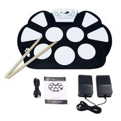 V.TOP Bateria Musical Electrónica para Niños- Kit De Pad Roll Up Silicona Portátil Plegable Con Palanca Y Pedal De Pie - Enrolle Drum Pad Electrónico Kit(Instrumentos de Música): Amazon.es: Instrumentos musicales Kit, Roll Ups