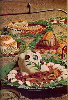 Just working on tonight's dinner. [Caption with pin: These festive offerings include Roast Capon With Supremes, Frozen Turkey Breast, Chicken Supreme, and a gaily decorated unrecognizable duckling simply called Duckling. Retro Recipes, Old Recipes, Vintage Recipes, Vintage Food, Retro Vintage, Gross Food, Weird Food, Fingers Food, Chicken Supreme