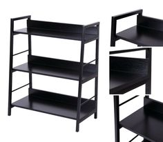 Black Metal Frame Shelves 3 Tier Ladder Wooden Bookcase Small Storage Organiser