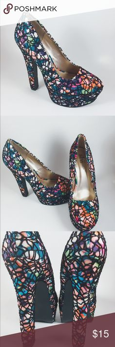 SHI By Journey platform heels SIZE 8 Sexy multicolored platform heel with fishnet outer by designer SHI by Journey in size 8 feels more like 8 1/2 New without box Shoes Heels
