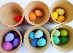 Kids montessori color sorting wood buckets of eggs color matching game Montessori Color, Montessori Activities, Handmade Wooden, Handmade Toys, Sorting Games, Easter Gift Baskets, First Birthday Gifts, Waldorf Toys, Gifted Kids