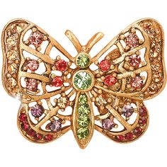 Jay Strongwater Multicolor Butterfly Tack Pin ($60) ❤ liked on Polyvore featuring jewelry, brooches, colorful jewelry, monarch butterfly jewelry, swarovski crystal brooch, butterfly jewelry and pin jewelry