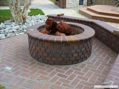 brick fire pit to match the existing patio