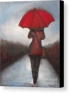 Red Umbrella Canvas Print / Canvas Art by Vesna Antic