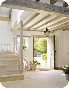 Gorgeous light oak wood staircase and beams for a bright, airy, natural and neutral entryway. Simply stunning modern farmhouse-style home! House Design, Exposed Beams, House Interior, Beautiful Homes, House, Interior, Interior And Exterior, Cozy House, Home Decor