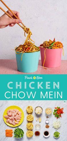 Chicken Chow Mein – Pinch Of Nom - myeasyidea sites Slimming World Dinners, Slimming World Chicken Recipes, Slimming World Recipes Syn Free, Slimming Eats, Slimming World Treats, Clean Eating Recipes, Diet Recipes, Cooking Recipes, Healthy Recipes