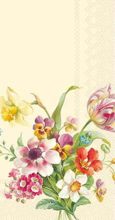 IHR Welcome Spring Cream Floral Printed 3-Ply Paper Guest Towels Wholesale BF600660