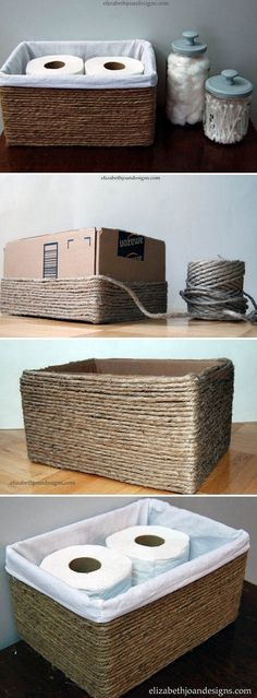diy box Check out the tutorial on how to make a rustic storage basket from a carton box and rope Diy Storage Boxes, Storage Baskets, Storage Ideas, Storage Solutions, Budget Storage, Ribbon Storage, Carton Box, Basket Shelves, Decorative Storage